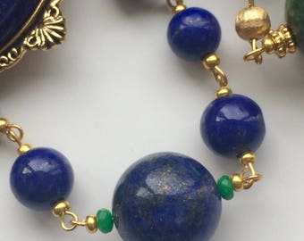 Art Deco Lapis Lazuli & Chrysocolla including Faceted Emeralds