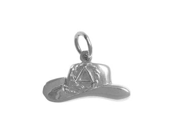 Alcoholics Anonymous Style #977, Sterling Silver Pendant, AA Recovery Symbol on a Cowboy Hat