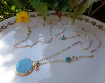 Long gold necklace with turquoise pendant, 585 gold filled