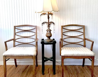 Mid Century Arm Chairs, Pair of Hollywood Regency Chairs by Thomasville, MCM Cats Eye Chairs, Danish Modern Ladder Back Cat-eye Chair Set