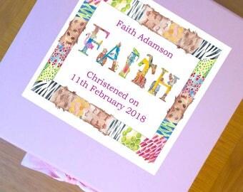 Personalised Keepsake Box-Baby Girl Keepsake-Baby Memory Box-1st Birthday Gifts-Christening Gift-Animal Alphabet