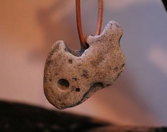 Holey Beach Stone-Shark Face Stone-Organic Hole Stone-Shark Face Rock-Pendant Stone-Surfer-Mermaid-OOAK Pendant-Zen-Island-Item #264
