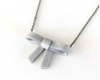 Silver bow necklace - handmade with polymer clay and oxidized silver chain