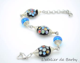 Silver tone, multicolored lens black dots and turquoise Glass Bead Bracelet