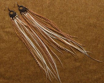"SUMMER SALE Long Feather Earrings ""Light Chandelier"""