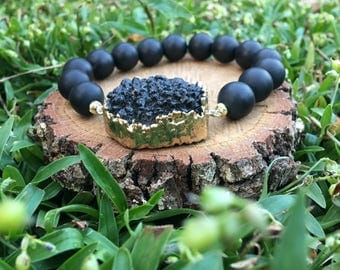 Black Onyx Agate(10mm) + Black Druzy Quartz Bracelet- Black and Gold Bracelet- Gemstone - Oliver Grey Jewelry - Druzy Jewelry - Boho Chic