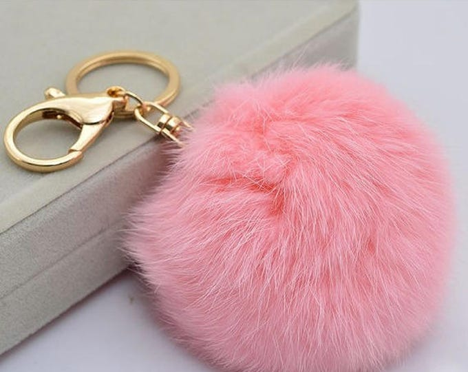 Pink Fur Pompom Keychain-FurPomPom Bag Charm- PomPom Bag Pendant- Rabbit Fur-Leather-Fur Accessories-Fur Pompom
