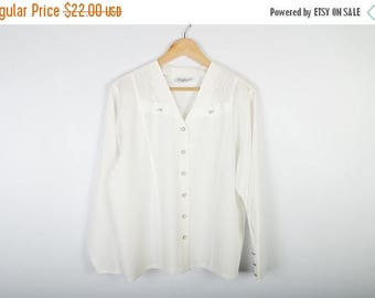 ON SALE White Womens Blouse Office Silky Wear Ceremony Top Elegant Shirt Long Sleeves Size Large