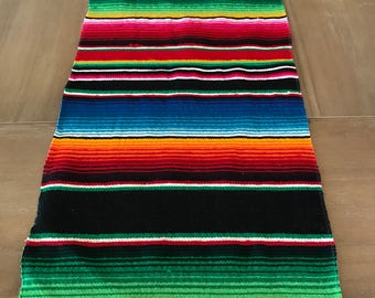 Day of the dead, Mexican Serape table runner, Southwestern decor, tribal party decor, Fiesta decorations, bohemian rainbow LONG BLACK.