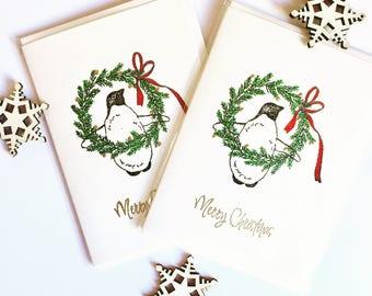 Penguin Wreath Holiday Card