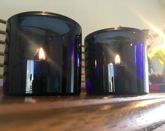 Heavy Cobalt Pressured Glass Candle Holders