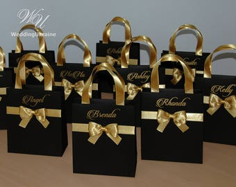 Black and Gold Brides Gift Bag Personalized Bridal Party favors Bags Bridesmaids Gifts Wedding Welcome Bag with satin ribbon, bow and names