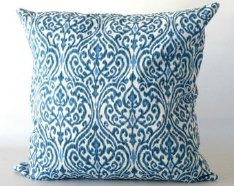 20x20 Blue Ikat Pillow Cover, blue pillow cover, Ikat pillow, blue white throw pillow, decorative pillow, home decor, furniture accessories