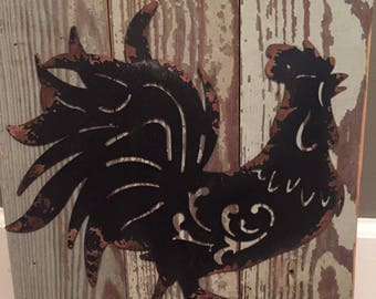 metal rooster sign, farmhouse, rustic, barnwood, wall art, home decor,black rooster