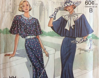 1980s Vintage Evening Dress amd Capelet Sewing Pattern