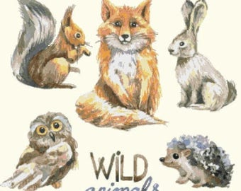"""wild animals Counted Cross Stitch watercolor Pattern chart point de croix needlepoint needlework -19.71"""" x 19.71"""" - L1506"""