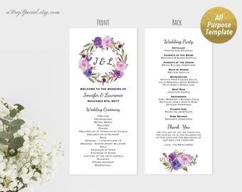 Printable Lavender Purple Floral Wedding Program, All Purpose Editable Double sided Elegant Wedding Ceremony Template, DIY PDF Download #111