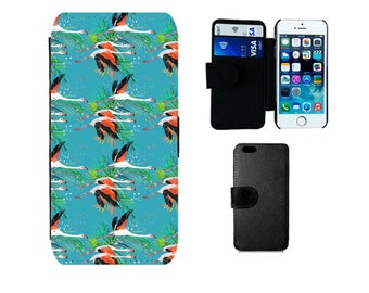 Wallet flip case iPhone SE 6 7 8 6S Plus, X 5S 5C 5 4S, Samsung Galaxy S8 Plus S7 S6 Edge S4 S5 Mini, flamingo phone case gifts. F357