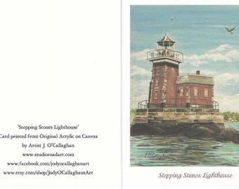 Stepping Stones Lighthouse Note Cards - Set of 5 - Blank Inside - 13.50 - Free Shipping