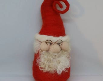 Father Christmas gnome, needle felted tomte, waldorf gnome, gnome ornament, Swedish gnome, Christmas decor,  Christmas decoration, tomte.