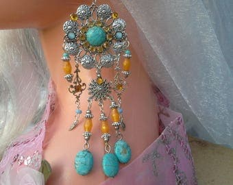 Chandelier Earrings: high fashion turquoise and orange