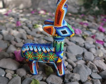 DEER carved wood handmade beaded by mexican Huichol artesans