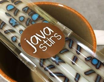 "JAVA STIRS, ""X's & O's Cream"", Glass Swizzle Sticks, X's and O's, Glass Swizzle Sticks, Vanilla and Turquoise Swizzle Sticks, Set of 4"