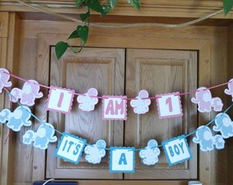 Blue Elephant, Pink Elephant, Baby shower, Baby Birthday, Banner---5 to  7 feet wide