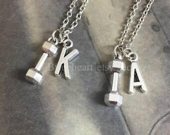 2 Necklace-Barbell necklace, dumbbell necklace, weightlifter necklace,barbell charm, Initial Necklace
