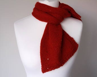 GetWoolly Scarf, soft, long, red, sequins, knit, hand knitted