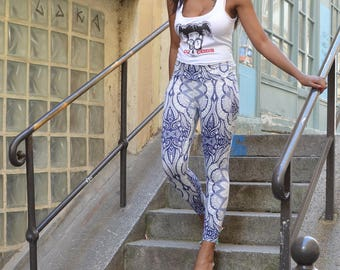 LEGGING Yoga PSYCHEDELICE blue and white hippy chic