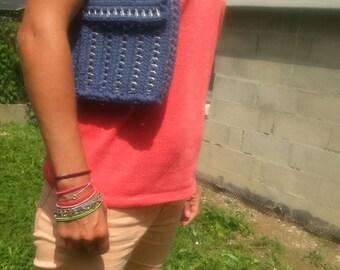 Handbag, model 1 bobbin capsules and denim blue cotton