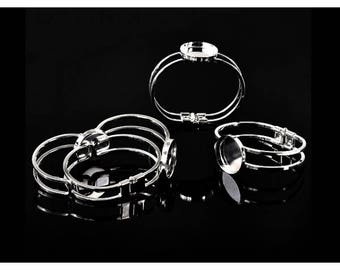 4 bracelets cabochon silver plated support