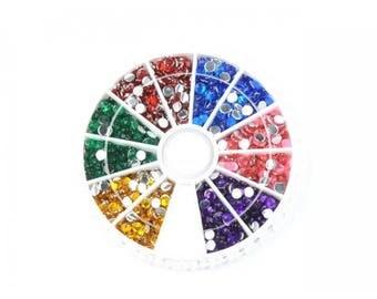 Box 1260 rhinestones multicolored 3mm, 6 colors