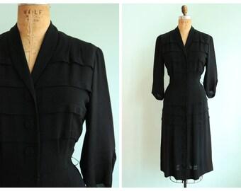 Vintage 1940's Black Rayon Dress | Size Medium