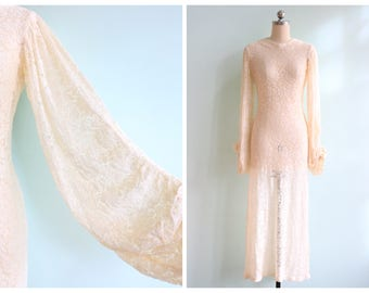 Vintage 1930s White Silk Lace Wedding Gown | Size Small