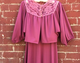 70s Purple Maxi Dress With Lace Bolero Jacket