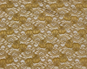 "Gold Stretch Lace Fabric Floral Embroidery Poly Spandex 58"" Wide BTY Wedding Apparel Victoria"