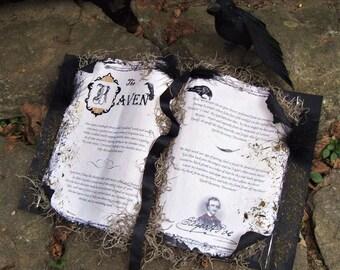 Edgar Allen POE SPELL BOOK The Raven Crow Halloween Decoration Spellbook Witch Book of Spells