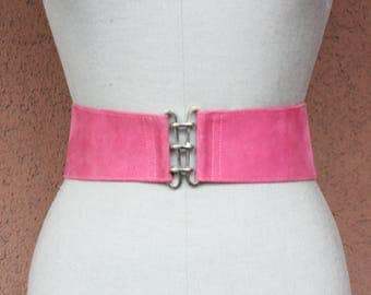 1980's Pink Suede Leather Wide Waist Belt - Size Xs