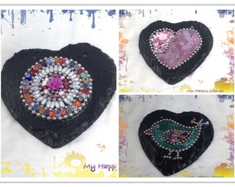 Slate hearts with Mosaic