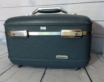 Vintage Round Black Suitcase American Tourister Luggage Hard