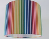 NEW Handmade Rainbow Candy Stripe Multi Coloured Fabric Drum Lampshade Lightshade