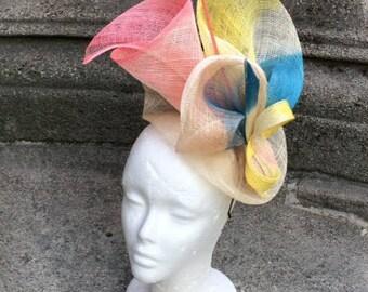 Pink, blue, yellow wedding Hat