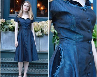 ON SALE Sapphire dress | vintage 1940s dress | navy tafetta and velvet 40s evening / party dress