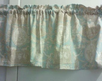Window Curtain Valance Cosmopolitan Toile color Blue