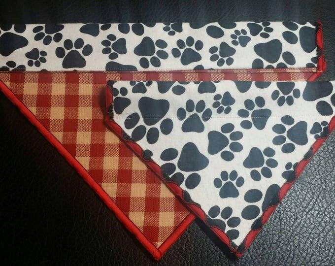 PET BANDANAS-Dog Paw Print n' Red Plaid