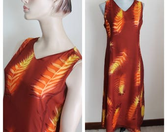 Vintage Silk Maxi by Silk, Size Medium Orange Brown Leaf Print Sleeveless Fall Colors