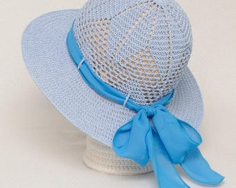 Sky Blue Beach Hat Summer Hat Sun Hats Womens hats Crochet Hat Ribbon Hat Summer Accessories Wide Brim Hat Womens Gift for Her Casual Hat