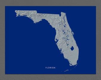 Florida Map, Florida Wall Art, FL State Art Print, Landscape, Navy Blue